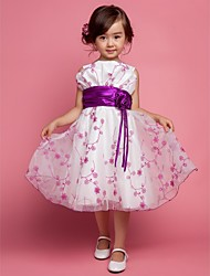 A-Line Princess Knee Length Flower Girl Dress - Polyester Sleeveless Straps with Flower