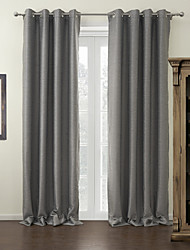 cheap -Rod Pocket Grommet Top Tab Top Double Pleat Two Panels Curtain Modern Solid Living Room 100% Polyester Polyester Material Blackout