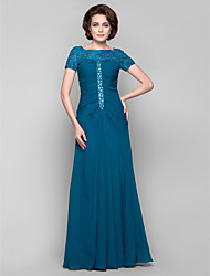 cheap -Sheath / Column Bateau Neck Floor Length Chiffon / Lace Mother of the Bride Dress with Beading / Crystals / Lace by