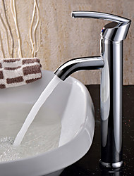 Contemporary Vessel Rotatable Ceramic Valve One Hole Single Handle One Hole Chrome , Bathroom Sink Faucet