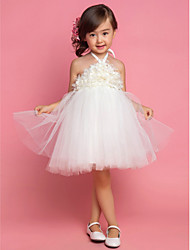 Princess Tea Length Flower Girl Dress - Satin Tulle Sleeveless Halter with Draping by Angels