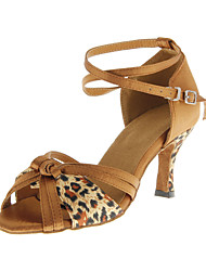 cheap -Women's Latin Ballroom Leatherette Heel Buckle Customized Heel Leopard Customizable