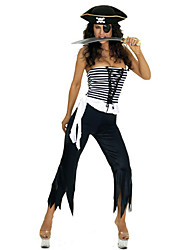 Недорогие -Хэллоуин Пиратская жестоких Топ без бретелек Черный и белый наряд Костюм женский