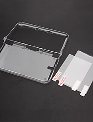 economico -Cover trasparente Crystal Case con top + bottom display LCD Screen Protector per Nintendo 3DS XL