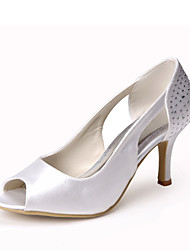 cheap -Tasteful Satin Peep Toe Pumps  with Rhinestone Wedding Shoes