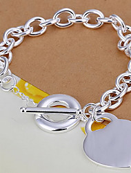 cheap -Z&X® Heart-shaped pendant silver plated bracelet