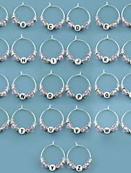 L'anello-26piece / set di vetro di favore della bottiglia favorisce l'argento non-personalizzato