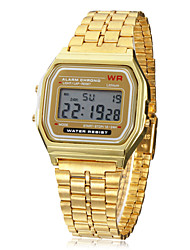 cheap -Men's Wrist Watch Digital Watch Digital Alarm Calendar / date / day Chronograph Alloy Band Digital Charm Gold - Golden One Year Battery Life / LCD / SODA AG4