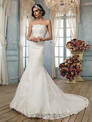 Mermaid / Trumpet Strapless Court Train Lace Satin Wedding Dress with Beading Appliques by LAN TING BRIDE®