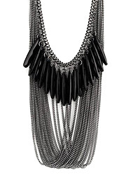 cheap -Women's Layered Statement Necklace  -  Drop Fashion, Multi Layer Black Necklace For Party