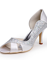 cheap -Tasteful Satin Peep Toe Pumps with Sparking Glitter Wedding Shoes