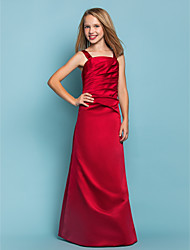 A-Line Straps Floor Length Satin Junior Bridesmaid Dress with Side Draping by LAN TING BRIDE®