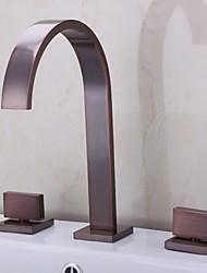 Clássica Banheira Romana Cascata Válvula Cerâmica Três Aberturas Duas alças de três furos Bronze Polido a Óleo , Torneira de Banheira
