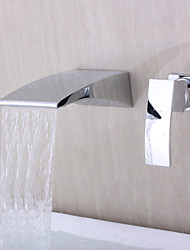 cheap -Contemporary Wall Mounted Waterfall Ceramic Valve Two Holes Single Handle Two Holes Chrome , Bathtub Faucet