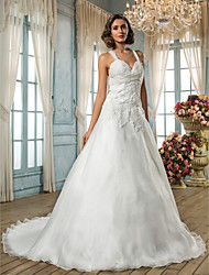 A-Line Princess Straps Sweep / Brush Train Organza Wedding Dress with Appliques Bow by LAN TING BRIDE®