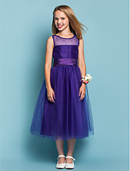 cheap -A-line Princess Jewel Tea-length Tulle Junior Bridesmaid Dress with Ruching by LAN TING BRIDE®