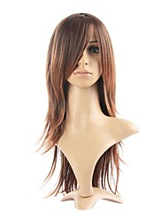 cheap -capless high quality synthetic straight brown fashional hair wigs