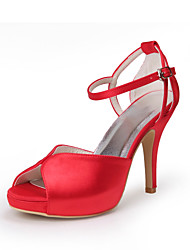 cheap -Women's Shoes Satin Stretch Satin Summer Fall Comfort Stiletto Heel Peep Toe Buckle For Wedding White Red