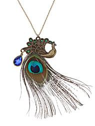 Feminino Colares com Pendentes Colares Vintage Cobre Strass Pena bijuterias Jóias Para Diário