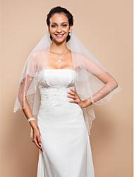 Wedding Veil Two-tier Fingertip Veils Beaded Edge 27.56 in (70cm) Tulle IvoryA-line, Ball Gown, Princess, Sheath/ Column, Trumpet/