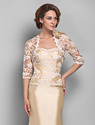 Women's Wrap Shrugs 3/4-Length Sleeve Lace Champagne Wedding / Party/Evening Wide collar 39cm Lace Open Front