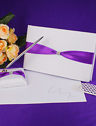 cheap -Wedding Guest Book And Pen Set In Satin With Blue Sash Sign In Book