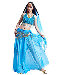 Belly Dance Outfits Women's Chiffon Beading Coins Sequins