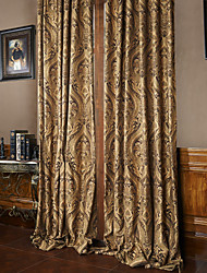 Rod Pocket Grommet Top Tab Top Double Pleat Two Panels Curtain European Neoclassical , Jacquard Polyester Material Curtains Drapes Home