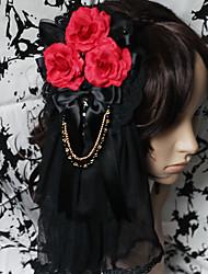 abordables -Bijoux Gothique Coiffure Lolita Homme Femme Accessoires Lolita  Fleur Casque Dentelle Satin Gemmes artificielles