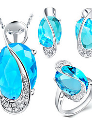 povoljno -Kristal Zircon Nakit Set uključiti Prstenje Tijelo Nakit Füllbevalók Ogrlice - Kristal Zircon Platinum Plated Legura Ovalnog Za Vjenčanje