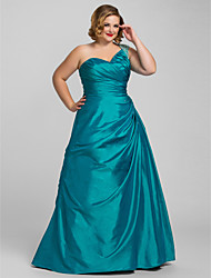 cheap -A-Line One Shoulder Floor Length Taffeta Prom / Formal Evening Dress with Beading / Side Draping by TS Couture®