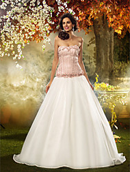 cheap -Fit & Flare Strapless Sweep / Brush Train Lace Organza Wedding Dress with Flower by LAN TING BRIDE®