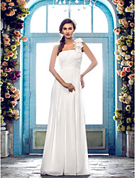 cheap -A-Line One Shoulder Floor Length Chiffon Wedding Dress with Criss-Cross Flower by LAN TING BRIDE®