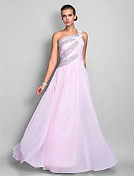 cheap -Sheath / Column One Shoulder Floor Length Chiffon Prom Dress with Beading by TS Couture®