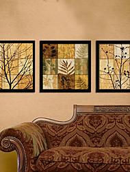 Floreale/Botanical Tele con cornice / Set con cornice Wall Art,PVC Nero Senza passepartout con cornice Wall Art