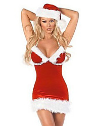 Red Fluffy Tube Dress Women's Christmas Costume