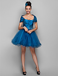 cheap -A-Line Off-the-shoulder Short / Mini Taffeta Tulle Cocktail Party Prom Holiday Dress with Beading Ruffles by TS Couture®
