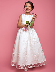 cheap -A-Line Princess Floor Length Flower Girl Dress - Lace Sleeveless Jewel Neck with Ribbon by LAN TING BRIDE®