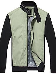 PPZ Mænds Casual Stand Collar PU Splejsning Jacket (Grøn)