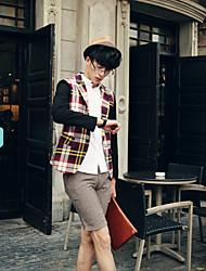 Недорогие -Мужчин Пледы Тонкий костюм пиджаки