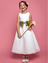 A-Line Ankle Length Flower Girl Dress - Lace Sleeveless Scoop Neck by LAN TING BRIDE®