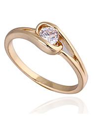 Chapeamento de ouro Zircon Anel J27025 das KU NIU Mulheres