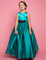 cheap -A-Line / Princess Floor Length Flower Girl Dress - Satin / Tulle Sleeveless Jewel Neck with Flower by LAN TING BRIDE®