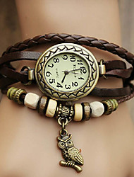 cheap -Women's Watch Bohemian Owl Pendant Leather Band Bracelet Strap Watch Cool Watches Unique Watches Fashion Watch