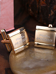 cheap -Personalized Gift Gold Squared Engraved Cufflinks