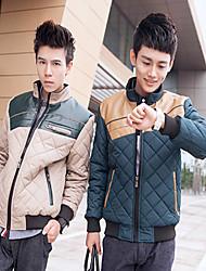 Недорогие -Мужчин ворота стойки колющими повседневные пиджаки Хлопок
