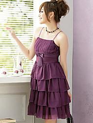 PINYOU Women's Strap Chiffon Dress(Purple)_1125