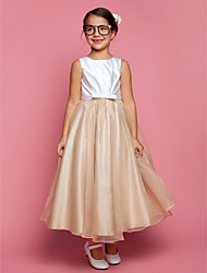 cheap -A-Line Princess Ankle Length Flower Girl Dress - Organza Satin Sleeveless Jewel Neck with Bow(s) Sash / Ribbon Side Draping by LAN TING