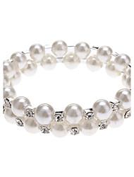 preiswerte -Damen Strang-Armbänder Einzigartiges Design Modisch Perle Künstliche Perle Strass Imitation Diamant Schmuck Weiß Schmuck FürParty Alltag