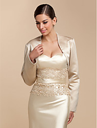 Long Sleeves Satin Wedding Party Evening Casual Wedding  Wraps With Beading Sequin Coats / Jackets
